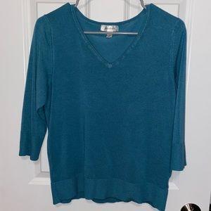 Dressbarn v neck teal blue sweater XL